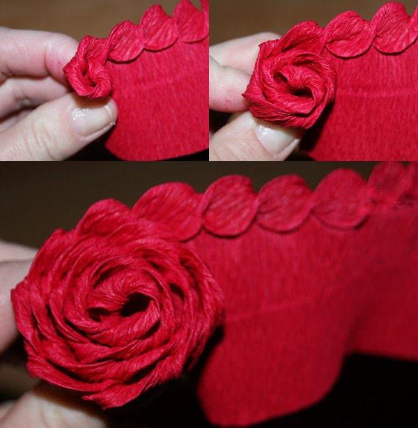 Cách làm hoa hồng giấy đáng yêu tặng bạn gái 4