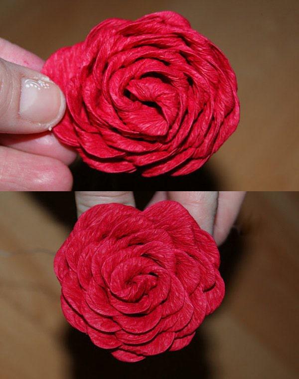 Cách làm hoa hồng giấy đáng yêu tặng bạn gái 6