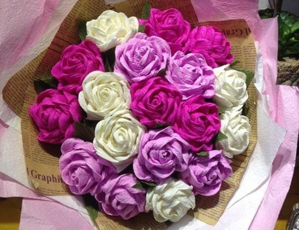 Cách làm hoa hồng giấy đáng yêu tặng bạn gái 8