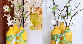Tận dụng bình cắm hoa bằng chai nhựa trang trí cực nhanh