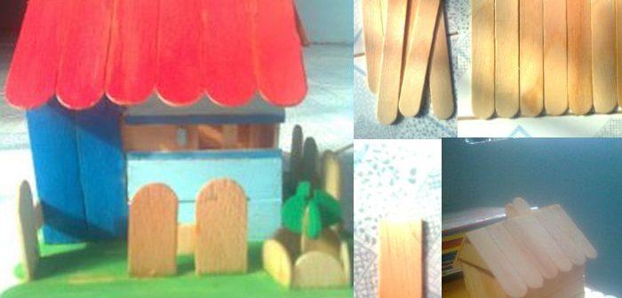 Mô hình nhà gỗ handmade bằng que kem để làm quà tặng