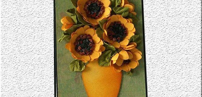 Thiệp quà tặng đặc biệt với hoa hướng dương trang trí nổi