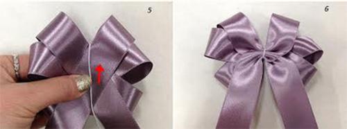 Cố định phần giữa nơ bằng chỉ hoặc dây kẽm nhỏ
